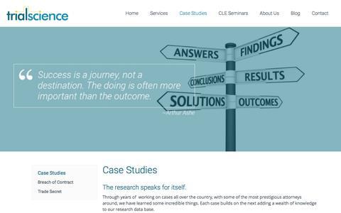 Screenshot of Case Studies Page trialscienceinc.com - Trial Science | Case Studies | Trial Science - captured Feb. 25, 2016