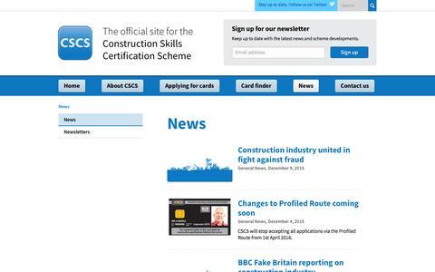 Screenshot of Press Page cscs.uk.com - Construction Skills Certification Scheme | Official CSCS Website - News - captured Jan. 23, 2016