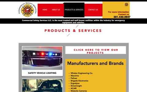 Screenshot of Products Page Services Page commercialsafetyservices.com - safety | PRODUCTS & SERVICES - captured Aug. 15, 2017