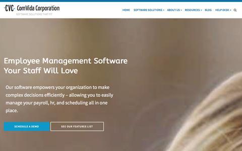 Screenshot of Home Page comvida.com - Employee Management Software  : ComVida Corporation - captured Jan. 30, 2016