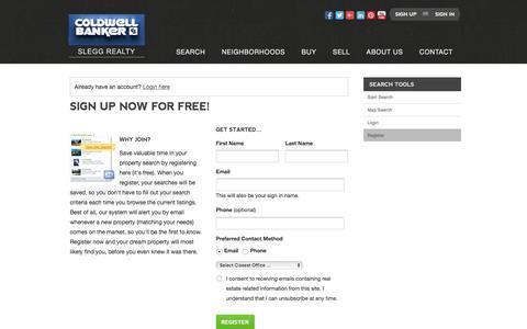 Screenshot of Signup Page sleggrealty.com - Register - captured July 5, 2017