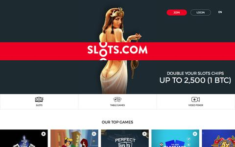Screenshot of Home Page slots.com - Bitcoin Slots Casino for Mobile, Play Real Money Casino Slots from your mobile - captured May 22, 2018