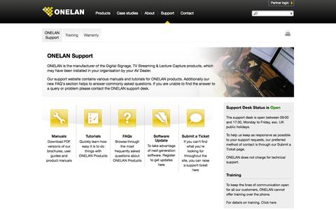 Screenshot of Support Page onelan.com - Support | Onelan - captured Sept. 19, 2014