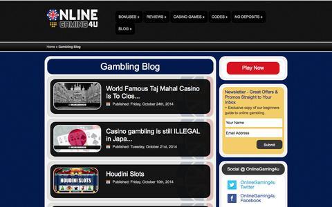 Screenshot of Blog onlinegaming4u.com - Gambling Blog | OnlineGaming4u - captured Oct. 26, 2014