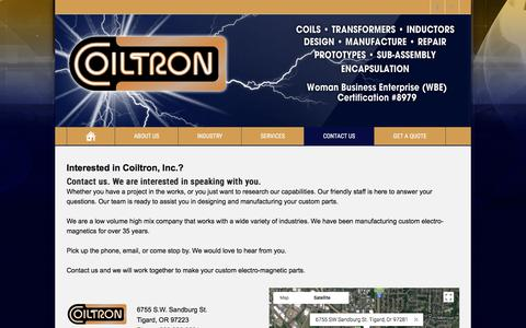 Screenshot of Contact Page coiltron.com - Contact us   Custom Coils, Transformers, Solenoids, Inductors - captured Aug. 10, 2017