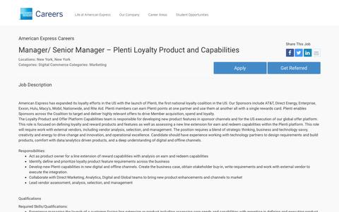 Screenshot of Jobs Page americanexpress.com - Apply For American Express Manager/ Senior Manager – Plenti Loyalty Product and Capabilities job - Digital Commerce, Marketing - New York, New York - captured Oct. 26, 2016