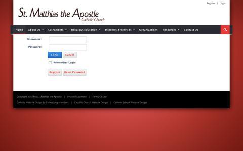 Screenshot of Login Page stmatthiastheapostle.org - User Log In - captured Feb. 23, 2018
