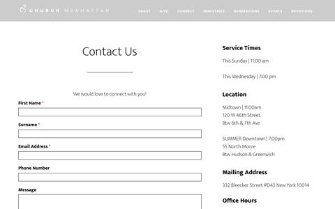 Screenshot of Contact Page c3manhattan.org - Contact Us | C3 Church Manhattan 212-267-6264 - captured July 10, 2017