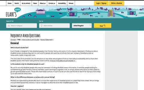 Screenshot of FAQ Page euansguide.com - Frequently asked questions regarding Euan's Guide - captured Nov. 11, 2016