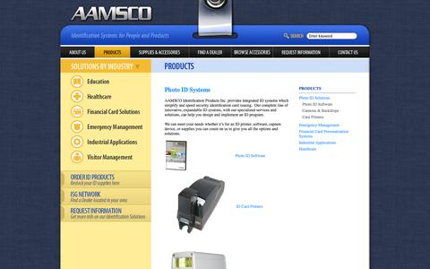 Screenshot of Products Page aamsco.net - Photo ID Systems - captured Oct. 4, 2014