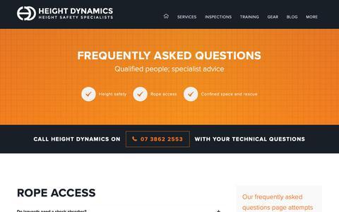 Screenshot of FAQ Page heightdynamics.com.au - FAQ - Height Dynamics - captured Dec. 21, 2018