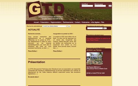 Screenshot of Home Page gtd-var.fr - GTD - Groupement technique des directeurs d'instituts médico-éducatif du Var 83 - IME, SESSAD, FAM, CAT, FOM Accueil - captured June 2, 2016