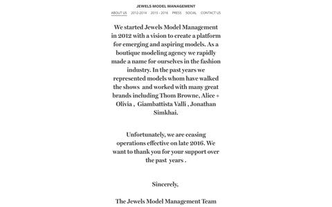 Screenshot of About Page jewelsmodelmanagement.com - ABOUT US - Jewels Model Management - captured Sept. 20, 2018