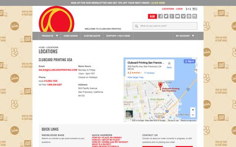 Screenshot of Locations Page clubcardprinting.com - Clubcard San Francisco Contact Information - captured Nov. 17, 2016