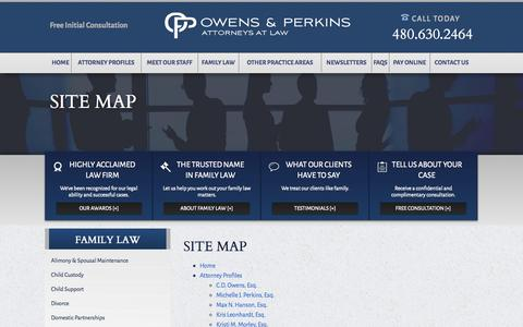 Screenshot of Site Map Page oplaw.com - Site Map   Owens and Perkins, P.C. - captured Oct. 26, 2014