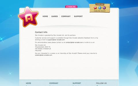 Screenshot of Contact Page Support Page star-arcade.com - Star Arcade - Contact Info - captured Oct. 22, 2014
