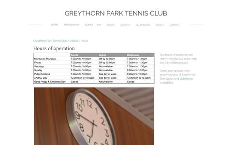 Screenshot of Hours Page greythornparktc.org.au - Hours - Greythorn Park Tennis Club - captured Jan. 30, 2017