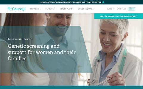 Screenshot of Home Page counsyl.com - Counsyl | Genetic screening and support for women and their families - captured April 25, 2018