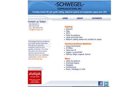 Screenshot of Home Page schwegel.biz - Schwegel Communications - captured Oct. 4, 2014