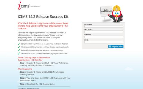 Screenshot of Landing Page icims.com - iCIMS 14.2 Release Success Kit - captured Sept. 3, 2018