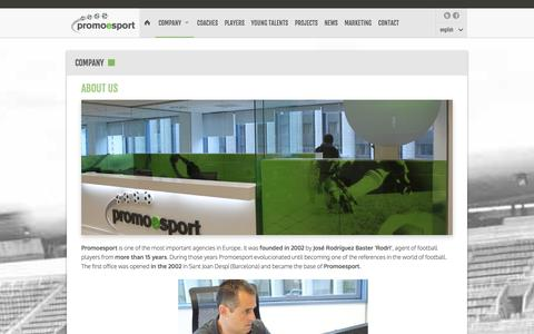 Screenshot of About Page promoesport.es - Company | Football players representation agency. FIFA Agents. Spain. | Promoesport - captured Jan. 23, 2016