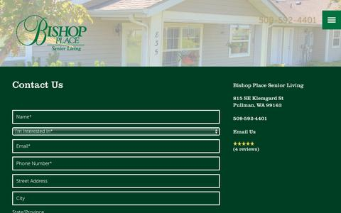 Screenshot of Contact Page milestoneretirement.com - Contact Us | Bishop Place Senior Living - captured Jan. 25, 2017
