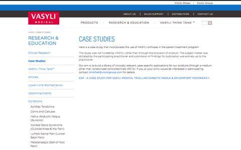 Screenshot of Case Studies Page vasylimedical.com - Case Studies - captured April 8, 2016