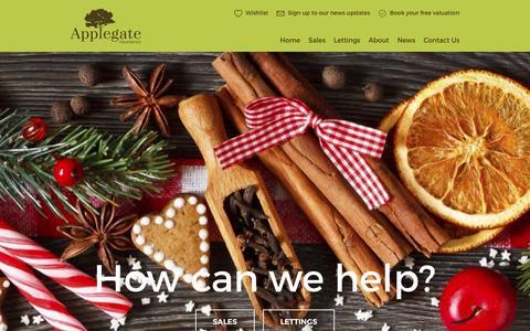 Screenshot of Home Page applegateproperties.co.uk - Estate Agents Holmfirth, Letting Agents Huddersfield | Applegate Properties - captured Dec. 25, 2015