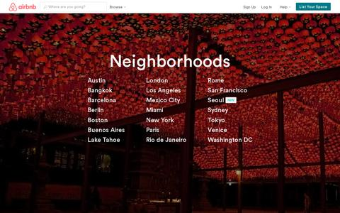 Screenshot of Locations Page airbnb.com - Airbnb Neighborhoods - Your Local Travel Guide - captured July 21, 2014