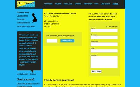 Screenshot of Contact Page cjtimms.co.uk - Contact Us - Ilkeston, Derbyshire, DE7 4LL » C J Timms - captured Oct. 1, 2014