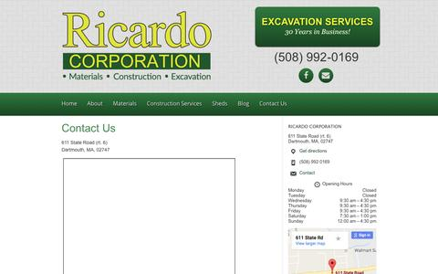 Screenshot of Contact Page ricardocorp.com - Dartmouth, Massachusetts Supply Shop of Ricardo Corporation - captured Dec. 1, 2016