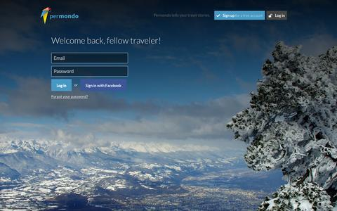 Screenshot of Login Page permondo.com - Permondo tell your travel stories - captured Sept. 19, 2014