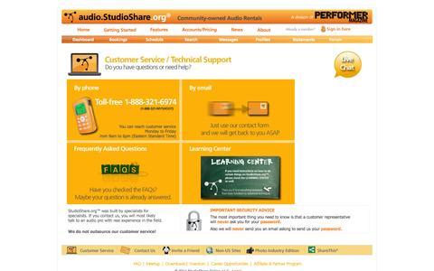 Screenshot of Support Page studioshare.org - StudioShare.org: Customer Service - captured Oct. 4, 2014