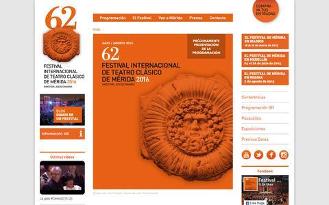 Screenshot of Home Page festivaldemerida.es - Festival Internacional de Teatro Cl�sico de M�rida - captured Jan. 15, 2016