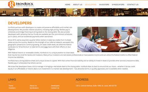 Screenshot of Developers Page ironrockcap.com - Developers - IronRock Investments - captured Feb. 11, 2016