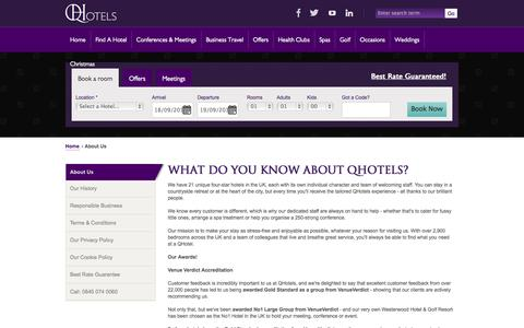 Screenshot of About Page qhotels.co.uk - About QHotels - Luxury Hotels Group - QHotels - captured Sept. 19, 2014