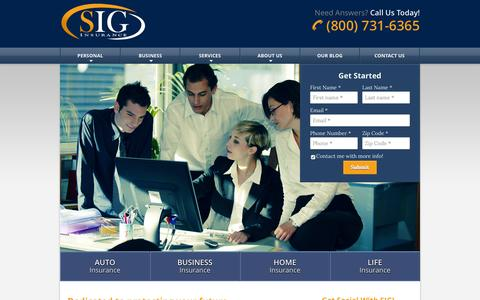 Screenshot of Home Page sigprotects.com - SIG Insurance of Winter Haven, Florida - captured Aug. 12, 2015