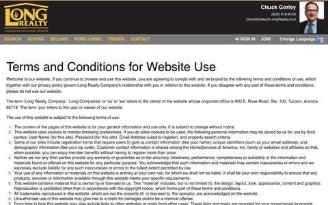 Screenshot of Terms Page longrealty.com - Terms of Use - captured Dec. 7, 2018