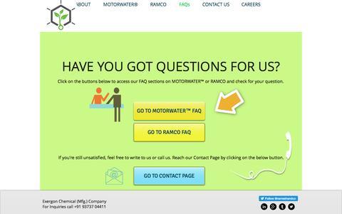 Screenshot of FAQ Page rameshandco.com - exergon | FAQs - captured Nov. 29, 2016
