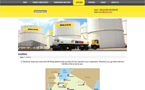 Screenshot of Locations Page oilcomtz.com - Oilcom - captured Oct. 27, 2014