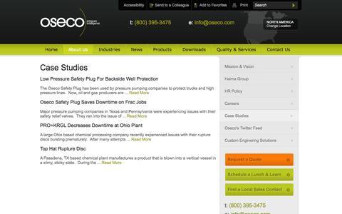 Screenshot of Case Studies Page oseco.com - Oseco Case Studies - captured Oct. 9, 2014