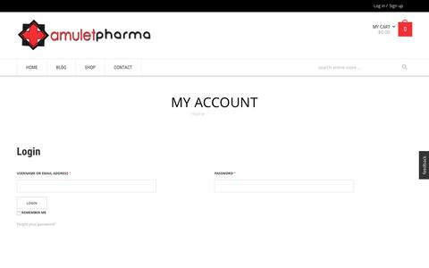 Screenshot of Signup Page Login Page amuletpharma.com - My Account - - captured Dec. 6, 2016
