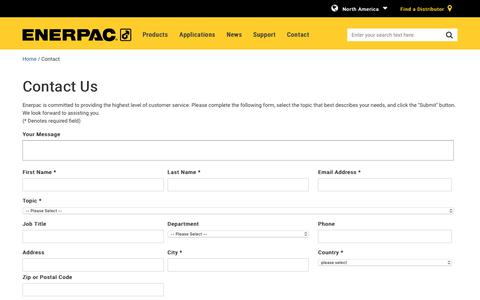 Screenshot of Contact Page enerpac.com - Contact Us | ENERPAC - captured Sept. 28, 2018