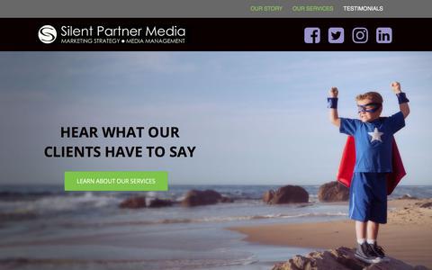 Screenshot of Testimonials Page silentpartnermedia.net - Testimonials - Silent Partner Media - captured Oct. 21, 2017
