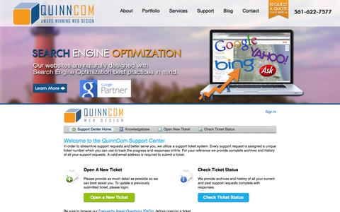 Screenshot of Support Page quinncom.net - QuinnCom Technical Support - captured Oct. 3, 2014