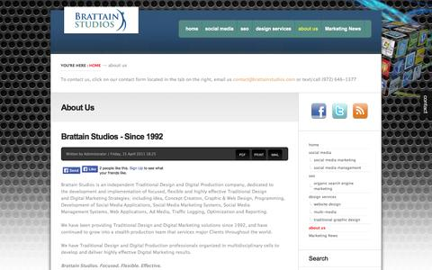 Screenshot of About Page brattainstudios.com - About Us - captured Sept. 30, 2014