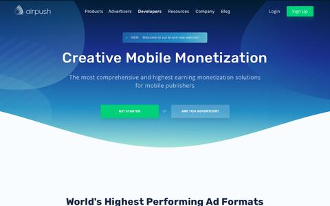 Screenshot of Developers Page airpush.com - Android, iOS and Mobile Web Monetization - Airpush - captured July 13, 2018