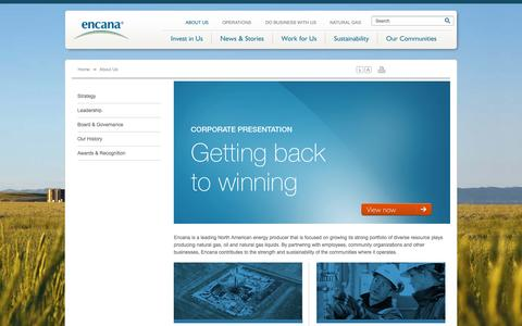 Screenshot of About Page encana.com - About us | Encana Corporation - captured Sept. 19, 2014