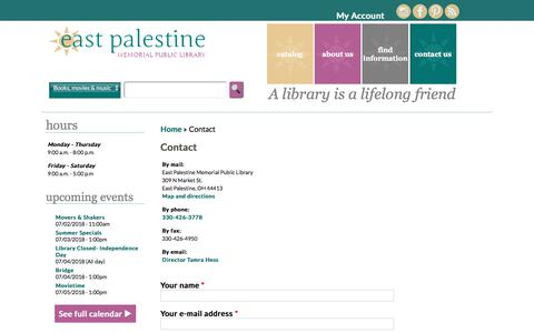 Screenshot of Contact Page east-palestine.lib.oh.us - Contact | East Palestine Memorial Public Library - captured July 2, 2018