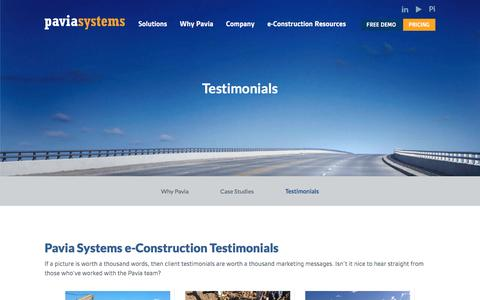 Screenshot of Testimonials Page paviasystems.com - Transporation Infrastructure eConstruction Testimonials | Pavia Systems - captured Oct. 25, 2016